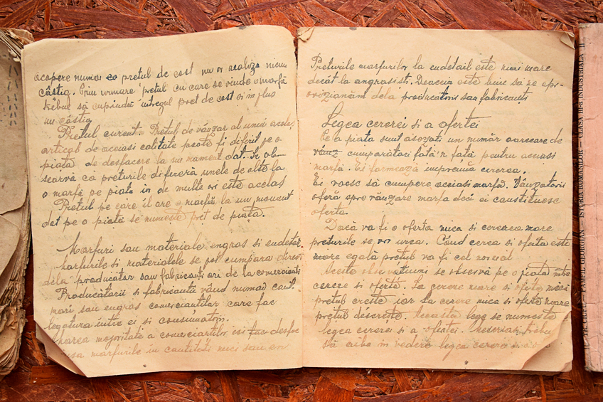 Antique book with handwritten text